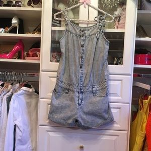 💯% cotton denim romper